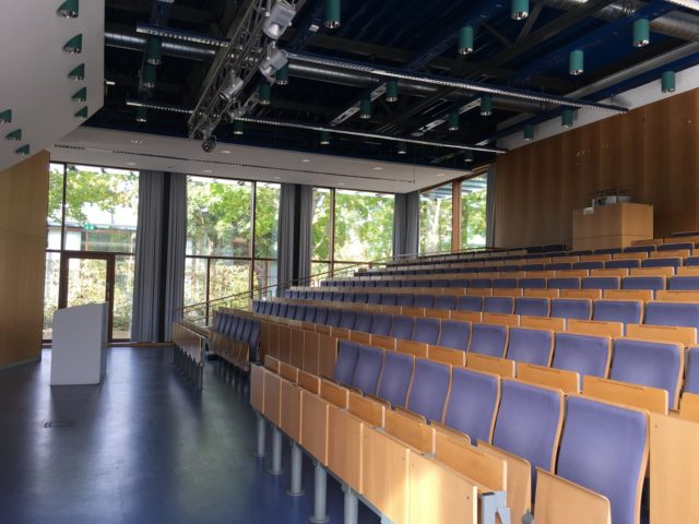 Empty lecture hall awaits students at the university of Lüneburg